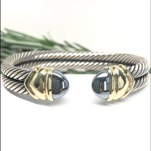 David Yurman Double Cable Cuff Bracelet Hematite